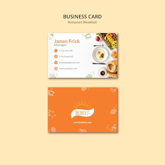Sjabloon voor visitekaartjes voor ontbijt eten