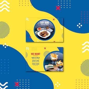Sjabloon voor visitekaartjes voor restaurant in de stijl van memphis