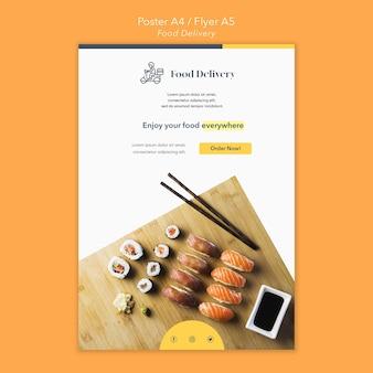 Sjabloon voor voedselbezorging folder