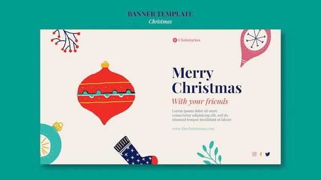 Sjabloon voor vrolijk kerstfeest horizontaal spandoek