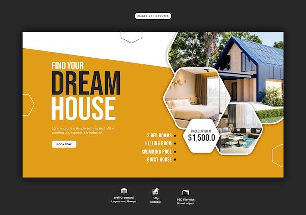Sjabloon voor webbanner voor onroerend goed huis