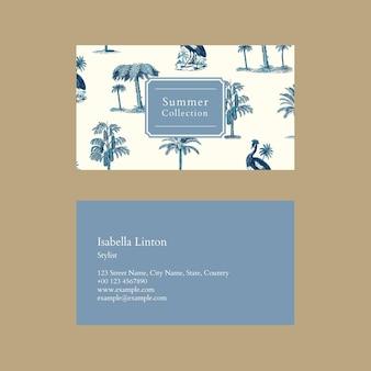 Sjabloon voor zomervisitekaartjes psd met tropische achtergrond