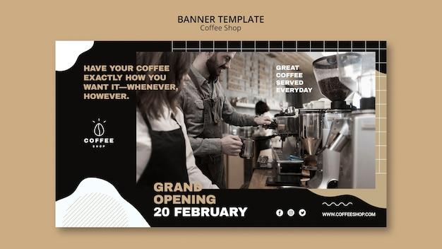 Sjabloonontwerp spandoek voor coffeeshop