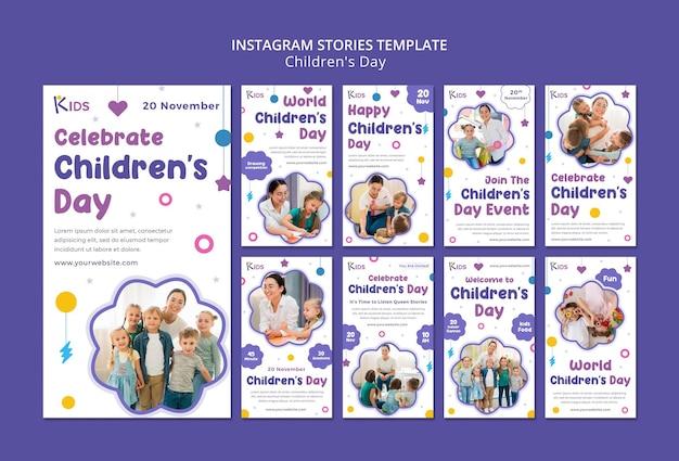 Sjabloonontwerp voor kinderdag insta-verhalen