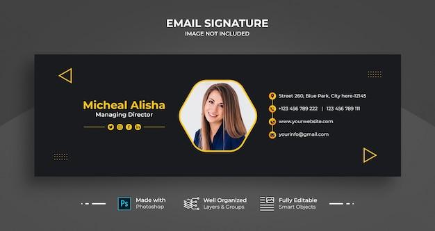 Sjabloonontwerp voor zakelijke e-mailhandtekening of e-mailvoettekst en persoonlijke omslag voor sociale media