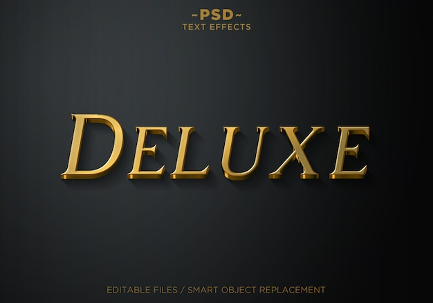 Sjabloontekst 3d deluxe gold style 2 effects