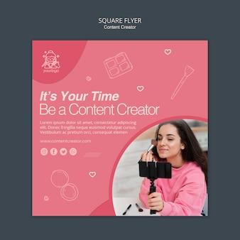 Sjabloonthema voor contentcreator-flyer