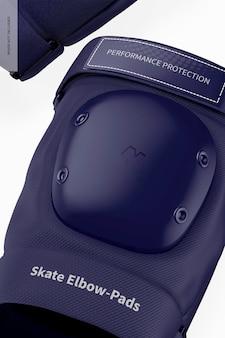 Skate elleboogbeschermers mockup, close-up