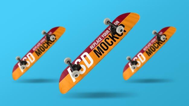Skateboard 3d-rendering mockup-ontwerp