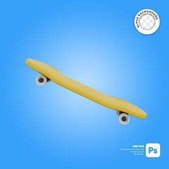 Skateboard cartoon stijl zijaanzicht 3d-object