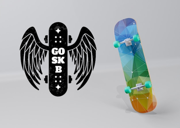 Skateboard colorato con logo ali d'angelo