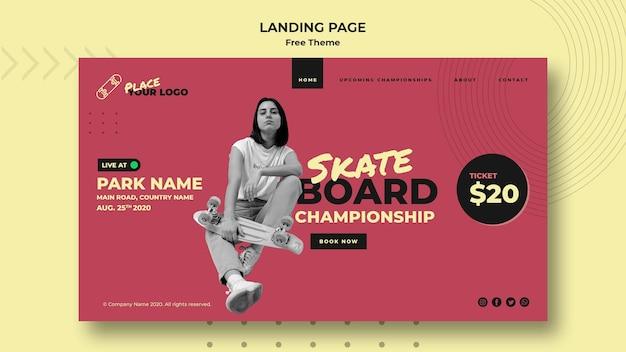 Skateboard concept bestemmingspagina sjabloon