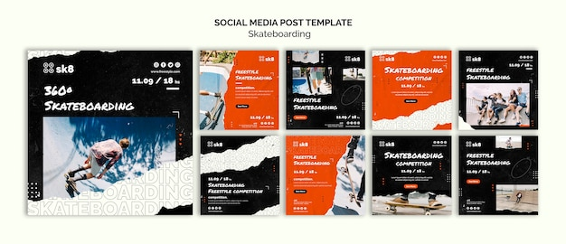Skateboard concept sociale media postsjabloon