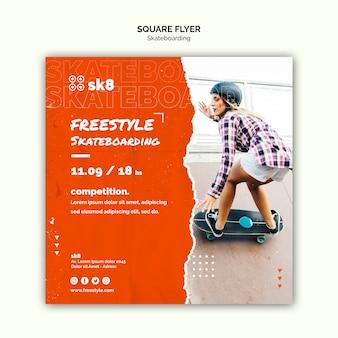 Skateboard concept vierkante flyer-sjabloon