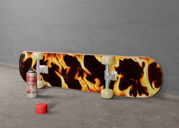 Skateboard design fiamma accanto alla bomboletta spray