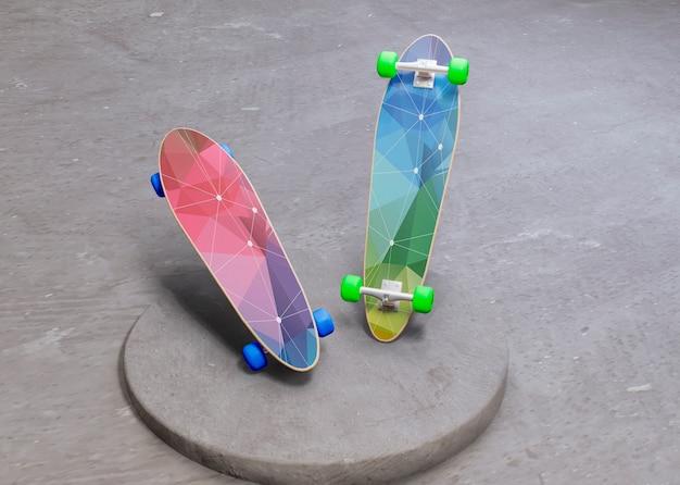 Skateboard futuristici colorati con mock-up