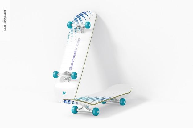 Skateboard mockup, perspectiefweergave