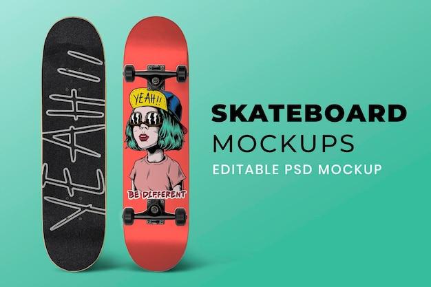 Skateboard mockup psd met coole design sportuitrusting