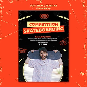 Skateboarden concept flyer sjabloon