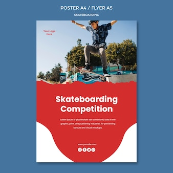 Skateboarden concept poster sjabloon