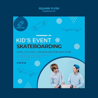 Skateboarder flyer-sjabloon