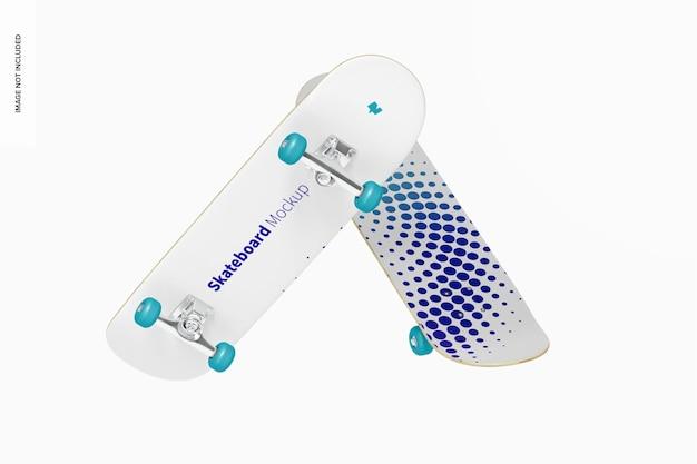 Skateboards mockup, drijvend