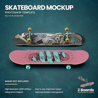 Skateboards op de vloer mockup