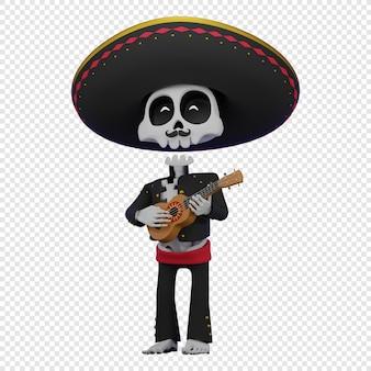Skelet in een mexicaans mannelijk kostuum met een sombrero die het ukelele-concept el dia de muertos . speelt