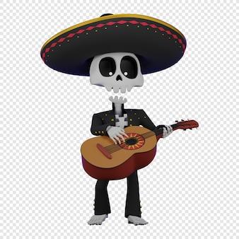 Skelet in een mexicaans mannenkostuum met een sombrero die de gitaar speelt el da de muertos vakantie