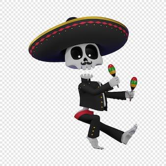 Skelet in een mexicaans mannenkostuum met een sombrero die de maracas el da de muertos-vakantie speelt