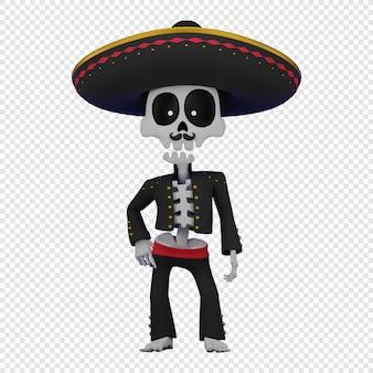Skelet in een mexicaans mannenkostuum met een sombrero het concept van de el da de muertos-vakantie