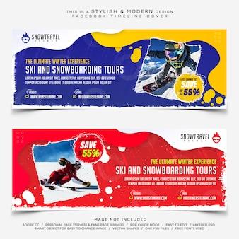 Ski of snowboard reizen banner