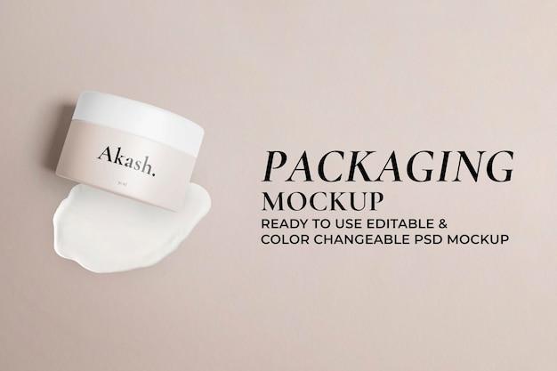 Skincare container jar mockup psd schoonheidsproduct verpakking