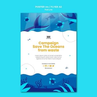 Sla de afdruksjabloon van de oceanen op