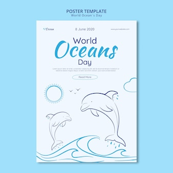 Sla de onderwaterwereld poster sjabloon op