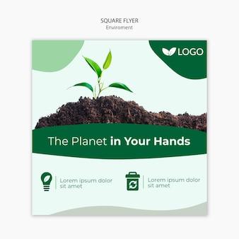 Sla de sjabloon voor planeetvlieger op met planten en grond