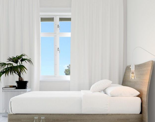 Slaapkamer met bed en plant