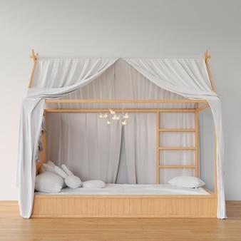 Slaapkamer met houten bed