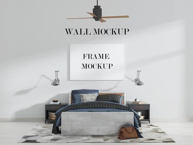 Slaapkamer muur en canvas mockup met ventilatorlamp en meubels