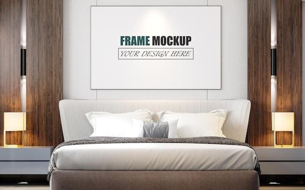 Slaapkamer ontworpen in een frame mockup in moderne stijl