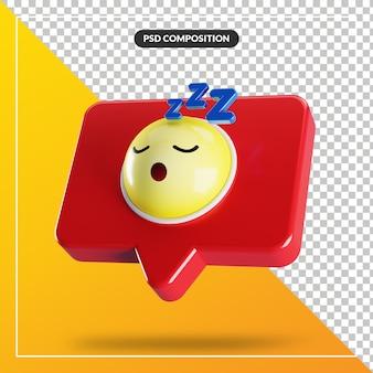 Slapend gezicht emoji-symbool in tekstballon