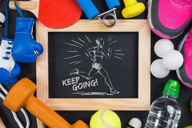 Slate mockup con il concetto di fitness