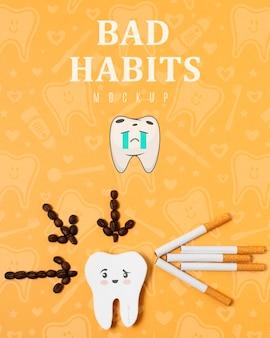 Slechte gewoonten kiespijn met mock-up