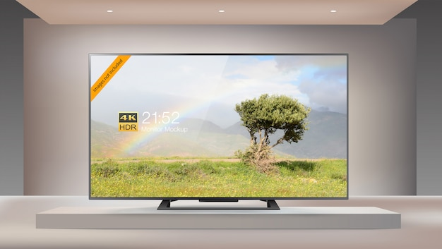 Slimme led 4k-tv van de volgende generatie voor een verlicht studiomodel