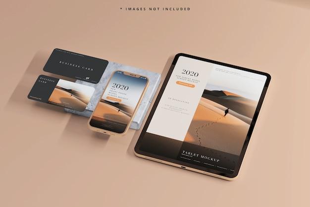 Slimme telefoon en tablet met mockups voor visitekaartjes
