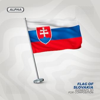 Slowakije realistische 3d getextureerde vlag voor samenstelling