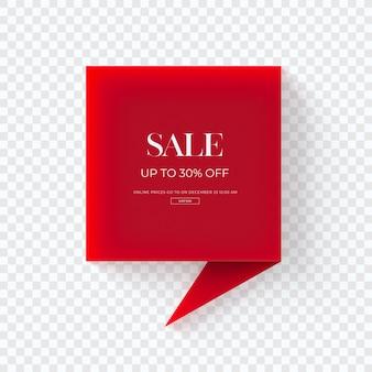 Sluit omhoog op 3d rode geïsoleerde markering van verkoopkleren