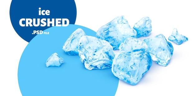 Sluit omhoog op blauw geïsoleerd verpletterd ijs