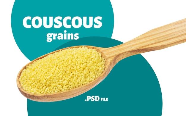 Sluit omhoog op couscous in geïsoleerde lepel