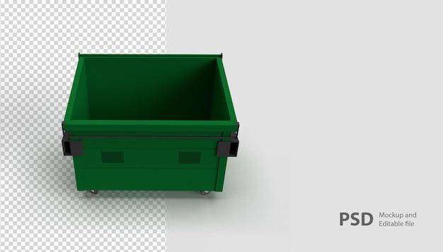 Sluit omhoog op de vuilnisbak in het geïsoleerde 3d teruggeven